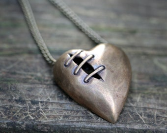 Sale Sutured Heart Necklace Bronze Brass Chain Free Domestic Shipping