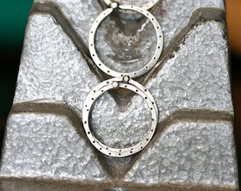 Sale Set of Three Industrial Square Sterling Silver Stacking Rings Free Domestic Shipping