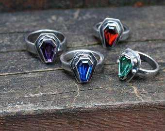 Custom Color True Blood Gemstone Coffin Ring Sterling Silver Free Domestic Shipping