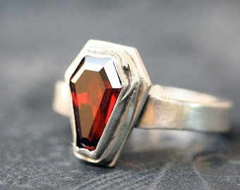 True Blood Garnet Gemstone Coffin Ring Sterling Silver Free Domestic Shipping