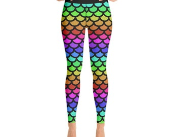 7f856e9a3caaa Rainbow Mermaid Scales Gym Yoga Fitness Active Wear Leggings
