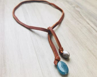 Leather Lariat Necklace with Pearl & Blue Sponge Coral Minimalist Boho Chic Necklace