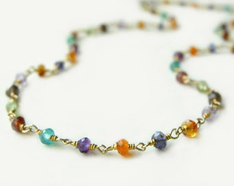 Arista Necklace with Mixed Semi-Precious Stones Layering Necklace Summer Fashion