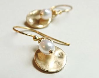 Hammered Gold Drop Earrings with White Freshwater Pearl