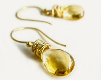 Tidal Earrings with Citrine Wire Wrapped in Gold Fall Fashion