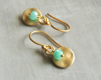 Hammered Gold Drop Earrings with Faceted Amazonite