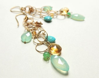 Largo Earrings with with Aqua & Citrine Long Layered Luxe Fall Fashion