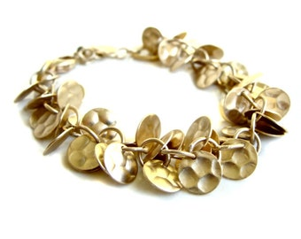 Amelia Bracelet with Hammered Matte Gold Circle Charms Modern Fall Fashion