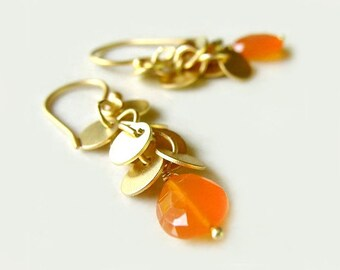 Lantana Earrings with Carnelian Drops and Matte Gold Cascading Circles Modern Fall Fashion