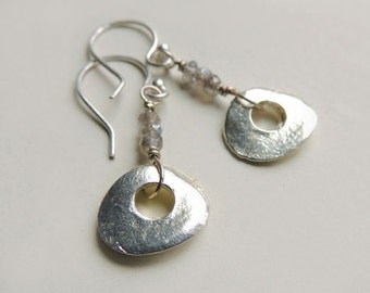 Mykonos Silver Drop Earrings with Faceted Labradorite