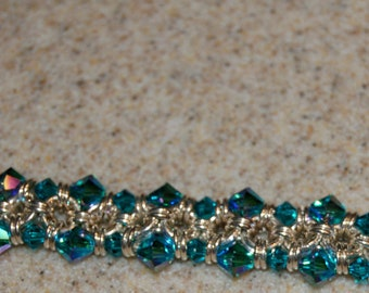 Chainmaille and Crystal Bracelet