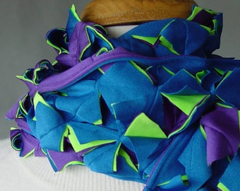Slasher Scarf - Purple, Bright Blue and Green - 3 layers -very subtle, at least for these unique scarves infinity She Weaves original design