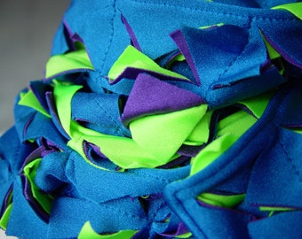 Slasher Scarf - Bright Blue and Green and purple -very subtle, at least for these unique scarves infinity She Weaves original design