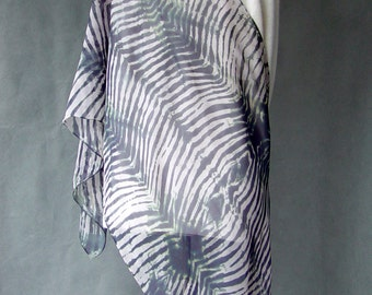 Extra Large Hand Dyed Silk Chiffon Scarf - Sibori Zebra stripes in shades of black and gray hand dyed Shibori gift idea jeans statement