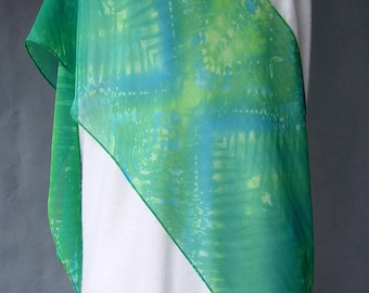 Hand Dyed Silk Scarf - Chiffon Shibori - Blue Green Meadow lg - great with jeans soft and light very long and wide great gift idea