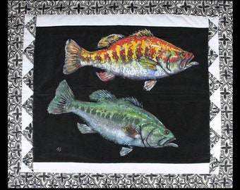 "Warm and Cool Bass Wall Hanging Art Hand Made on cloth 24"" X 28"" FISH Painting Ready to hang by Barry Singer"