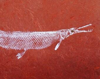 ORIGINAL Alligator GAR real GYOTAKU ( Fish Rubbing ) on Deep Red hand made Paper Lake Art Decor by Barry Singer