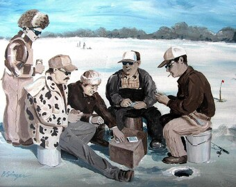 ICE FISHING with friends 8x10 Cottage Lake House Fisherman decor painting art print by Barry Singer