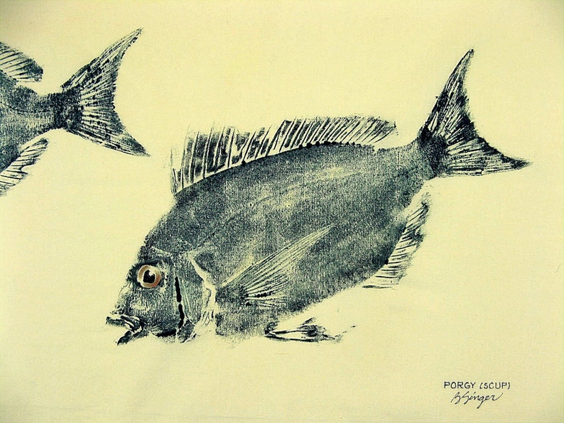 ORIGINAL Porgy or Scup Fish Art rubbing GYOTAKU on 16 X 20 cloth Fisherman gift by Barry Singer