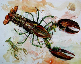 LOBSTER and BABY Watercolor Art Print 8x10 Maine best New England Beach Decor by Barry Singer