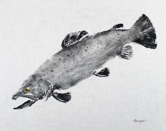 GYOTAKU fish Rubbing Brown Trout 8.5 X 11 quality Art Print Cottage Decor Fly Fishing by artist Barry Singer