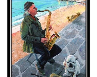 The Saxaphone player of Mykonos Greece Painting Print sax man with dog Busking street musician