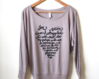 """Jane Austen Quote- Mr. Darcy Proposal """"In vain have I struggled"""" Pride and Prejudice. Women's Flowy Long Sleeved. Made to Order"""