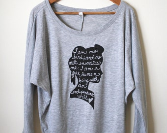 "Jane Eyre Quote ""I am no bird and no net ensnares me..."" Yoga Shirt, Women's Flowy Long Sleeve Tee . MADE TO ORDER"