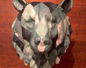 Bow Tie Bear | Animal Head Paper Wallpaper Art Sculpture
