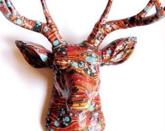 Marbled Deer  |  Stag Head Paper Wallpaper Art Sculpture