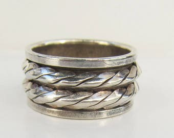Sterling Silver Double Spinner Band Ring - Size 8 - 2487