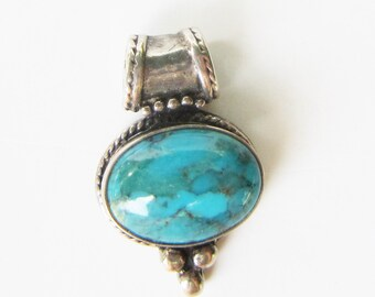 Sterling Silver and Turquoise Bali Style Pendant     3033K