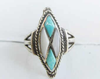 Native American  Sterling Silver and Inlay Turquoise and Mother of Pearl Diamond Shape Ring - Size 6 1/2      2856