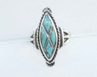 Native American  Sterling Silver and Inlay Turquoise Diamond Shape Ring - Size 7 - 2811