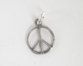 Tiny Sterling Silver Peace Sign Charm or Pendant - 2769