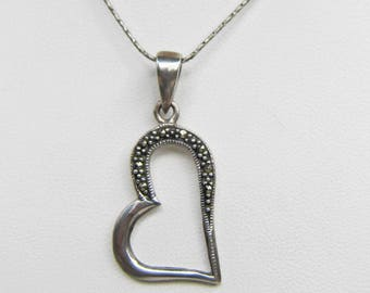 Sterling Silver and Marcasite Open Heart Pendant on Sterling Chain Necklace    2329J