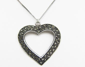 Large Sterling Silver and Marcasite Open Heart Pendant on Sterling Box Chain Necklace - 2326J