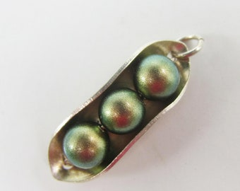 Iridescent Green Peas in a Pod Pendant or Charm   - 2871