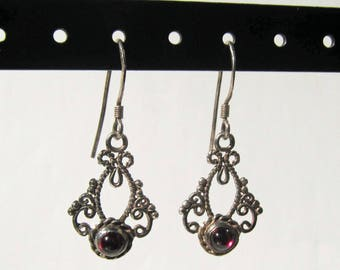 Sterling Silver Filigree Dangle Earrings with Garnet - 2500H
