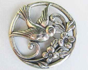 Vintage Coro Sterling Silver Circle Bird and Floral Brooch - Pin - 2841J