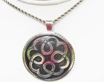 Taxco Mexico - Signed A. Munoz - Sterling Silver Overlay Pendant or Brooch on Silver Chain Necklace - 2876I