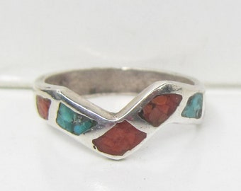 Native American Sterling Silver and Inlay Turquoise and Coral Ring - Size 4.5      2873