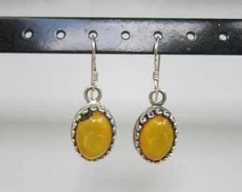 SALE Sterling Silver and Genuine Amber Dangle Earrings - 2883