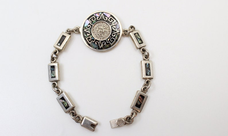 Sterling Silver Aztec Calendar and Aries Zodiac Link Bracelet with Abalone  Inlay - 7