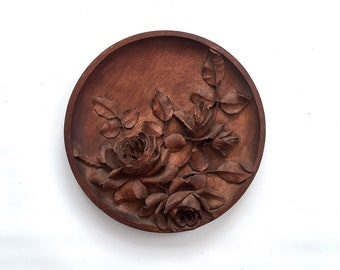 Carved wood roses etsy