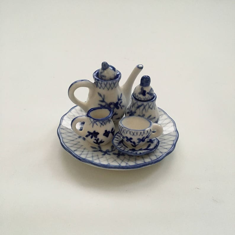 FREE SHIPPING Teapot Creamer and Sugar Pieces Made in China Dollhouse Tray Teacup Miniature Blue and White Tea Set