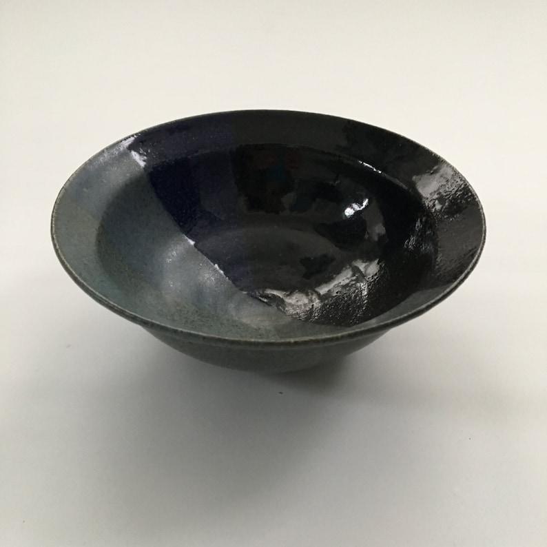 Blue Glazed Stoneware Bowl Studio Art Pottery Bowl
