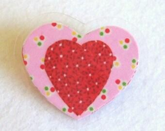Red Heart Pin, Pink and Red Heart Brooch, Fabric Heart Pin, Laminated Pin, Polka Dot Heart Pin