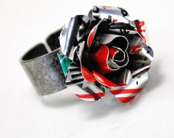 Recycled Jewelry Diet Coke or your choice soda Rose Ring
