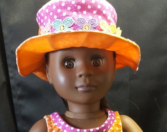 """18"""" Doll Spring Dress in Polka Dots and Matching Hat!"""